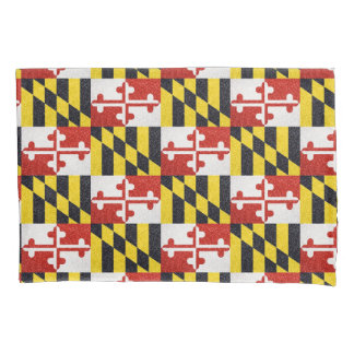 Glitter Maryland flag standard pillow case set