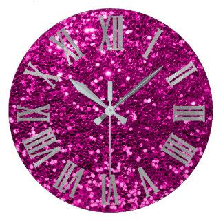 Glitter Metallic Roman Numbers Fuchsia Pink Gray Large Clock