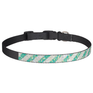 Glitter mint green stripes pet collar