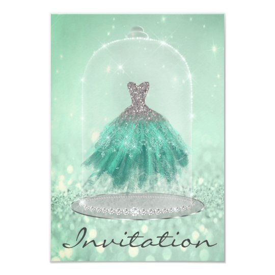 Glitter Mint Green TiffanyDiamond Dress Sweet 16th Card