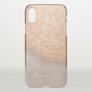 Glitter Monogram Name Ivory Gold Peach Copper iPhone X Case