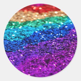 Glitter Multi Colored Sparkle Purple yellow green Round Sticker