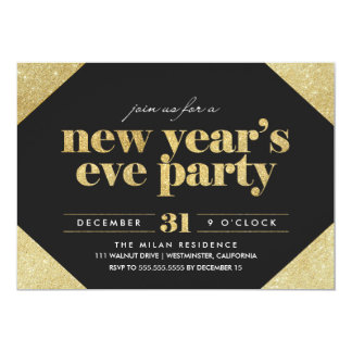Glitter New Year's Eve Party Invitation