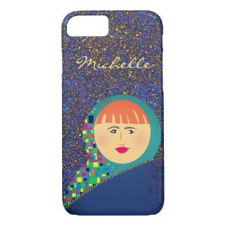 Glitter Night Colorful Bold Girl Cartoon Michelle iPhone 7 Case