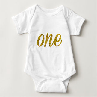 Glitter Number ONE (1) Baby Bodysuit