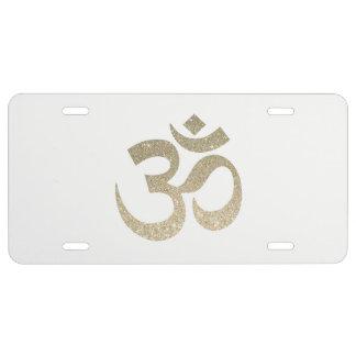 Glitter Om Symbol License Plate