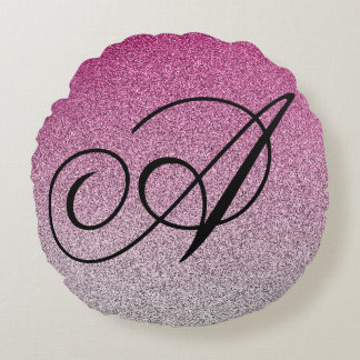 Glitter Ombre Initial Pillow Pink Silver