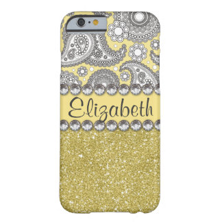 Glitter Paisley Rhinestone Pattern Barely There iPhone 6 Case