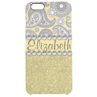 Glitter Paisley Rhinestone Print Pattern Clear iPhone 6 Plus Case