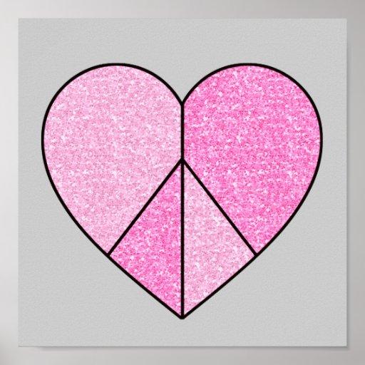 Glitter Peace Sign Heart Print