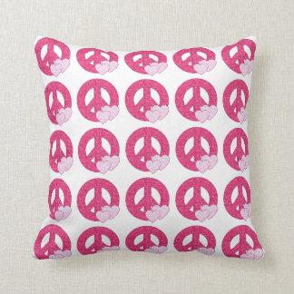 Glitter Peace Sign Throw Pillow
