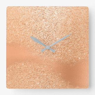 Glitter Peach Coral Rose Gold Beauty Metal Minimal Square Wall Clock