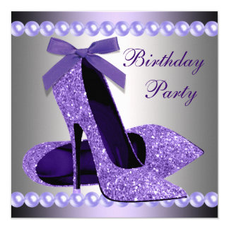 "Glitter Pearls Purple High Heels Shoes Birthday 5.25"" Square Invitation Card"