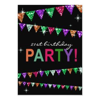 Glitter Pennant Flags 21st Birthday Celebration Card