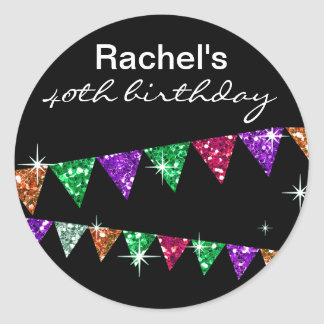 Glitter Pennant Flags 40th Birthday Celebration Classic Round Sticker