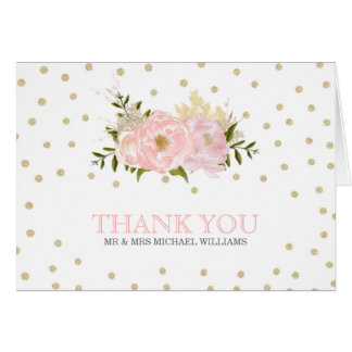 Glitter Peony Wedding Thank You Cards