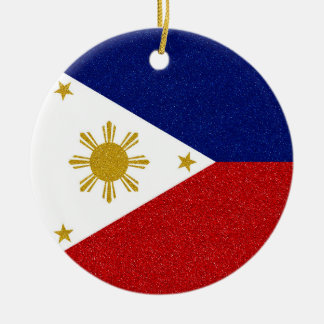 Glitter Philippines Flag with Custom Year Round Ceramic Ornament