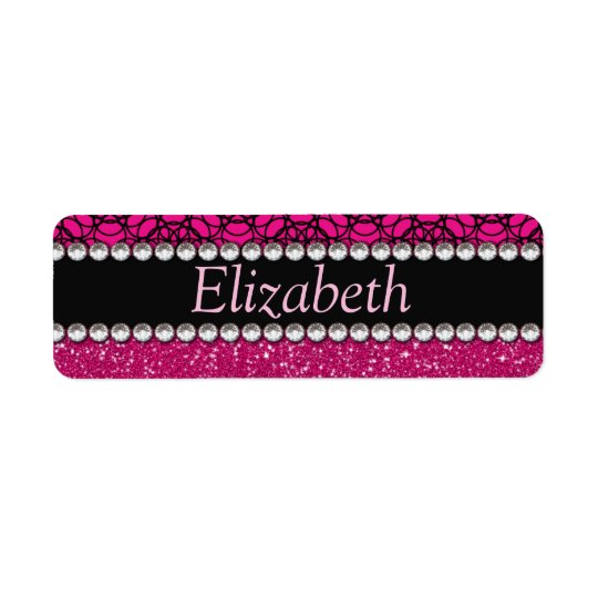 Glitter Pink and Black Pattern Rhinestones