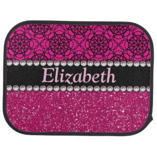 Glitter Pink and Black Pattern Rhinestones Car Carpet