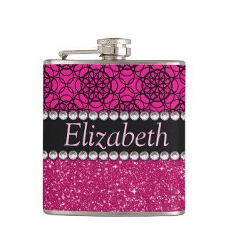 Glitter Pink and Black Pattern Rhinestones Flask