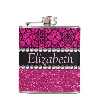 Glitter Pink and Black Pattern Rhinestones Hip Flask
