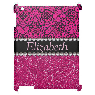Glitter Pink and Black Pattern Rhinestones iPad Cases