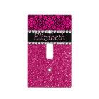 Glitter Pink and Black Pattern Rhinestones Light Switch Cover