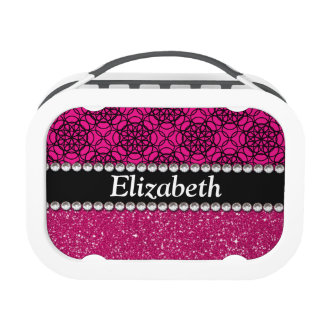 Glitter Pink and Black Pattern Rhinestones Yubo Lunchboxes