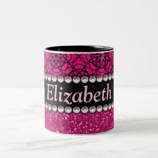 Glitter Pink and Black Pattern Rhinestones Two-Tone Coffee Mug