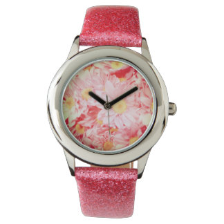 Glitter Pink Band with Vintage Daisy Design Wrist Watch