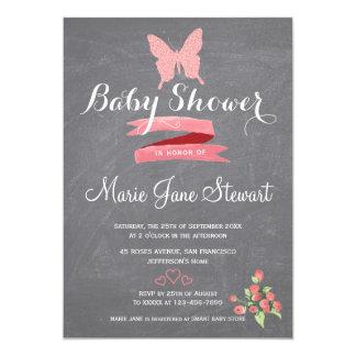 Glitter pink butterfly ribbon baby girl shower card