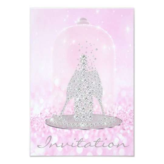 Glitter Pink Diamond Glass Bubbles Champagne Grey Card