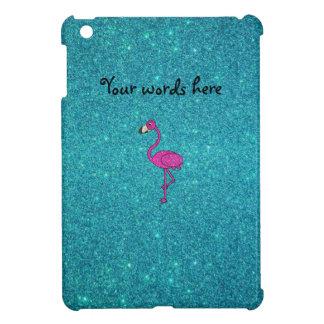 Glitter pink flamingo turquoise glitter iPad mini cover
