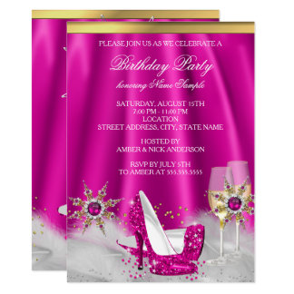 Glitter Pink High Heels Gold Champagne Party Card