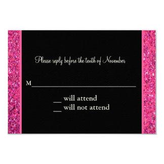 "Glitter Pink Masquerade Sweet 16 Response Card 3.5"" X 5"" Invitation Card"