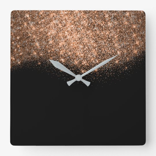 Glitter Pink Rose Gold Black White Abstratc Square Wall Clock
