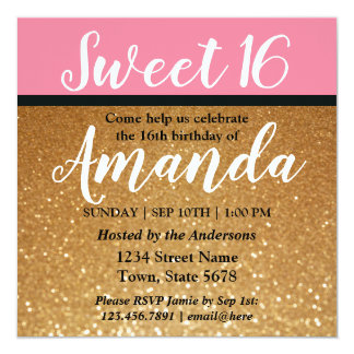 Glitter & Pink Sweet 16 Birthday Party Invitation