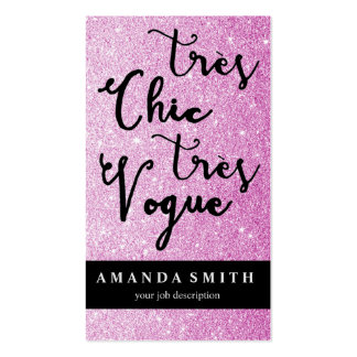 Glitter Pink Tres Chic Fashion Boutique Model Business Card