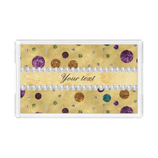 Glitter Polka Dots and Diamonds Serving Tray