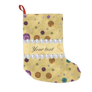 Glitter Polka Dots and Diamonds Small Christmas Stocking