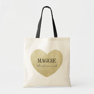 Glitter-Print Heart Shape Bridesmaid personalized Tote Bag
