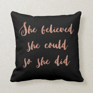 Glitter print quote cushion black and rose gold