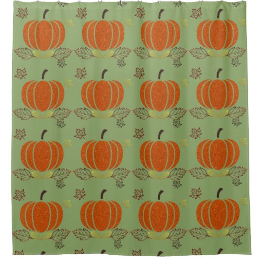 Glitter Pumpkin with Fall Leaves Shower Curtain