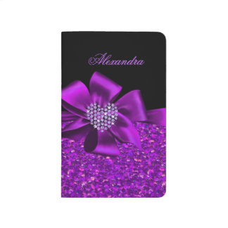 Glitter Purple Black Bow Heart Girly Journal