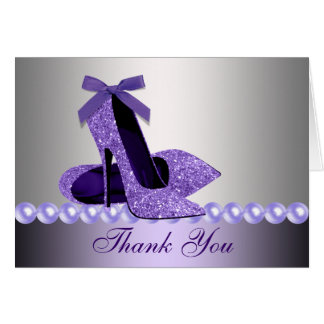 Glitter Purple High Heel Shoes Thank You Cards