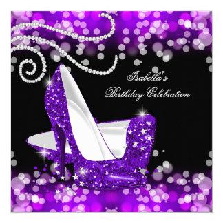 Glitter Purple High Heels Diamonds Birthday Card