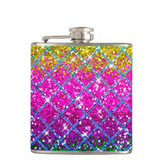 Glitter Purple Snakeskin Hip Flask