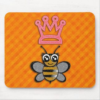 Glitter Queen Bee on Orange flannel background Mouse Pad