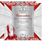 Glitter Quinceanera 15th Birthday Party Red Heels Card