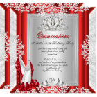 Glitter Quinceanera 15th Birthday Party Red Shoes Card
